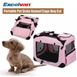Excelvan Portable Soft Fabric Pet Crate Kennel Cage Carrier House Dog Cat Pink New XL