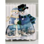 Snowman Couples Printed Waterproof Shower Curtain