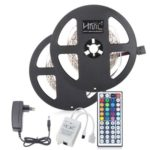 HML 2pcs x 5M 24W RGB 2835 SMD 300 LED Strip Light with IR 44 Keys Remote Control+ DC Adapter(EU Plug)