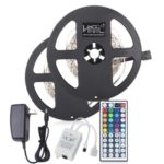 HML 2pcs x 5M 24W RGB 2835 300 LED Strip Light with IR 44 Keys Remote Control+ Adapter(US Plug)
