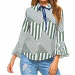 New Autumn Winter Plaid Contrast Color Flare Sleeve Shirt