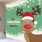 Snowflakes Christmas Elk Pattern Decorative Wall Tapestry