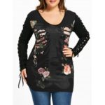 Plus Size Skeletal Lace Up T-shirt