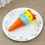 PU Slow Rising Squishy Toy Ice Cream with Colorful Bear Head 1PC