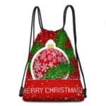 Christmas Snowflakes Balls Pattern Drawstring Candy Storage Bag