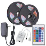 HML 2pcs x 5M Waterproof 24W RGB 2835 SMD 300 LED Strip Light with IR 24 Keys Remote Control+ DC Adapter(US Plug)