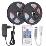 HML 2pcs 5M 24W Waterproof  RGB 2835 SMD 300 LED Strip Light with RF 10Keys Remote Control+  Adapter(EU Plug)