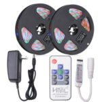 HML 2pcs 5M Waterproof  24W RGB 2835 SMD 300 LED Strip Light with RF 10 Keys Remote Control+ DC Adapter(US Plug)
