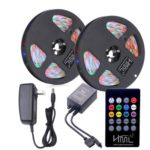 HML 2pcs 5M waterproof  24W RGB 2835 300 LED Strip Light – RGB with IR 20 Keys Music Remote Control and US Adapter