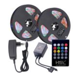 HML 2pcs 5M Waterproof 24W RGB SMD2835 300 LED Strip Light – RGB COLOR with IR 20 Keys Music Remote Control and EU Adapter