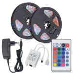 HML 2pcs x 5M 24W Waterproof  RGB 2835 SMD 300 LED Strip Light with IR 24 Keys Remote Control+ DC Adapter(EU Plug)