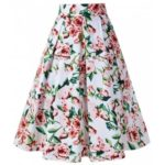 Flower Print Pleated A-line Vintage Skirt