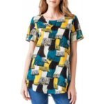 Print Cotton Casual T-shirt  Short Sleeve Round Collar Top