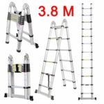 (TELE LADDER 190D 12) Finether 3.8M Portable Heavy Duty Multi-Purpose Aluminum Folding Telescoping A-Frame Ladder with Hinges, EN131 Certified, 330 Lb Capacity, Convient for Home Loft Office