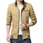NIAN JEEP Male Pure Color Casual Stand-up Collar Jacket