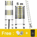 Finether 16.4 ft Aluminum Telescopic/Telescoping Loft Extension Multi-Purpose Ladder, EN 131 Certified with Work Gloves, Ladder Carrying Bag and Finger Protection Spacers, 331 lbs Capacity