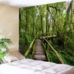 Wall Hanging Art Forest Wooden Bridge Print Tapestry