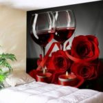 Wall Hanging Art Valentine's Day Rose Print Tapestry