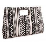 Large size Women bag black with white Geometric Canvas day clutches women Clutches Handbag