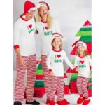 Comfortable Letters Striped Motifs Family Christmas Pajamas
