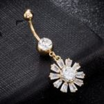 Blooming Petal Zircon Navel Ring P0241