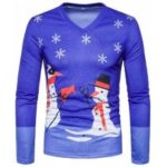 New Men'S Fashion Christmas Snowman National Wind 3D Printing V Collar Long Sleeved T – Shirt TV11
