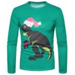 New Men'S Fashion Abstract Animal 3D Printed Round Collar Long Sleeved T-Shirt CT369