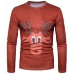 Christmas New 3D Personality Stamp Fashion Men'S Elk Pattern Round Long Sleeved T-Shirt CT365