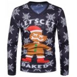 New Foreign Trade Men'S Personality Christmas Old V Collar Long Sleeved T-Shirt TV04