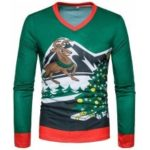New Men 3D Elk and Christmas Tree Printed Long Sleeved T – Shirt TV09