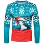 Men'S New Fashion 3D Feature Cartoon Cat Printed Round Collar Long Sleeved T-Shirt CT366