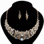 Women Luxury Diamond Necklace Earrings Jewelry Set Fashion Choker Gifts