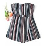 Strapless Stripes Tiered Romper