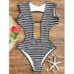 Striped Low Cut Open Back Swimwear