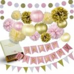 31Pcs of pink gold and cream birthday party decoration set Paper PomPom flowers Paper Lanterns glittering Polka Dot Paper Garland glittering Triangle Bunting Garland and Happy birthday Bunting Banner