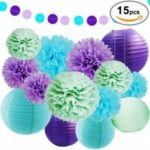Eastern Hope SEA THEME BRIDAL SHOWER PARTY DECORATION – Paper Lanterns, Tissue Pom Poms Flowers, Paper Garland and Polka Dot for Mermaids Under the Sea Theme Bridal Shower Wedding Ball Party Supplies