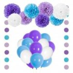 Little Mermaid Party Decorations Purple Blue Tissue Pom Pom Flowers Balloons Circle Garland Kit for Birthday Bridal Baby Shower Decorations