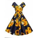 Vintage Sunflower Print Pin Up Dress