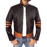 Men Fashion Stripe Leather Jacket