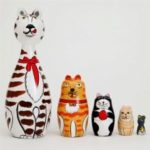 Russian Nesting Matryoshka Doll Cat Family Toy Gift 5pcs