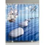 Sea Gull Stone Sailboat Print Waterproof Shower Curtain