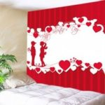 Lover Heart Print Tapestry Valentine's Day Wall Decoration