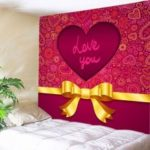 Mandala Heart Print Tapestry Valentine's Day Wall Decoration