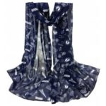 Romantic Eiffel Tower Pattern Silky Long Scarf