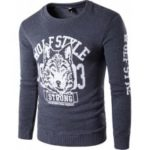 Men's Round Neck Wolf Totem Printing Design Fashion Sweatshirt