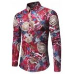 New Long Sleeved Shirt Dragonfly Pattern Shirt