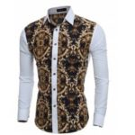 Retro Printing Men'S Casual Slim Long-Sleeved Shirt