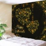 Valentine's Day Starlight Heart Print Tapestry Wall Hanging Decor