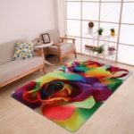 Valentine Painting Style Colorful Roses Printed Coral Velvet Area Rug