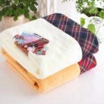 1 Pc  Simple Solid Bear Pattern Thickened Cozy Soft Bath Towel
